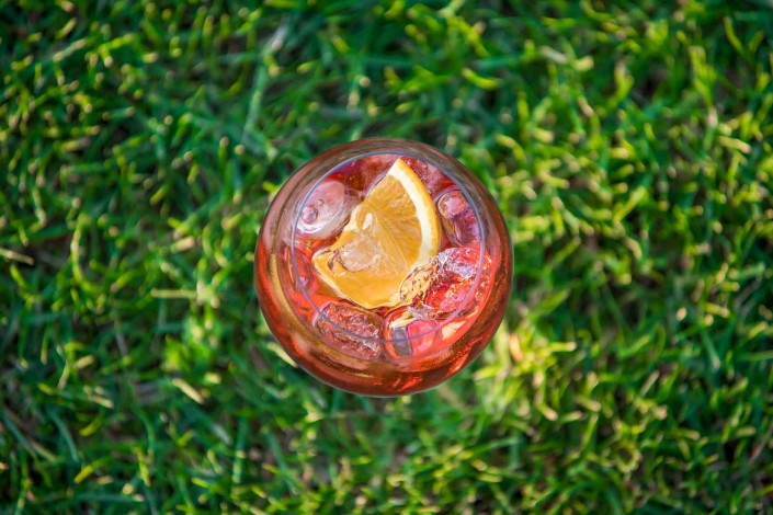 food photography, spritz ripreso dall'alto