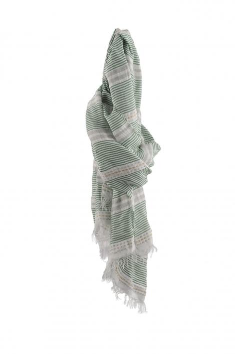 fotografia per e-commerce, sciarpina verde e bianca a righe