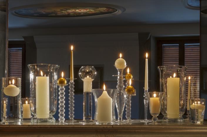 fotografia still life, vasi per candele