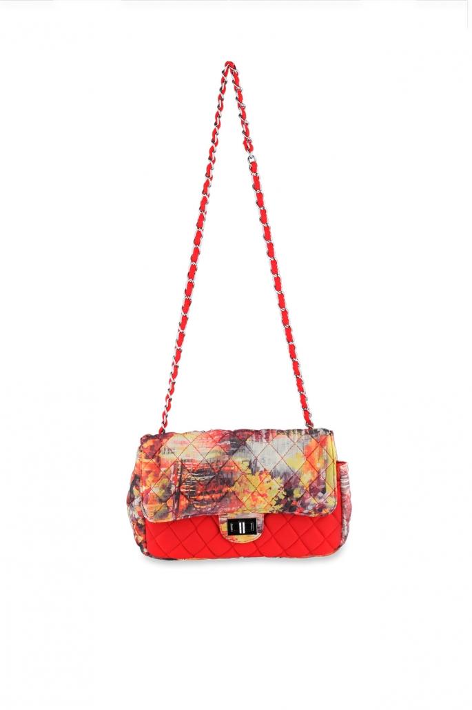 fotografia per e-commerce, borsetta arancione fantasia