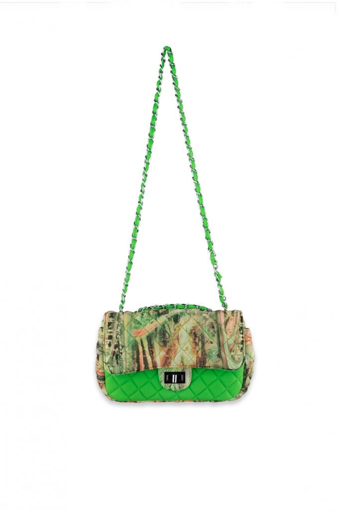 fotografia per e-commerce, borsetta verde fantasia