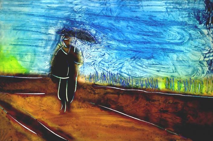 fotografia e paesaggi, uomo con ombrello