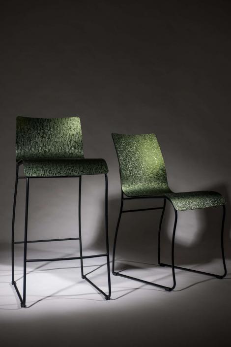 fotografia still life, sedie di design verdi