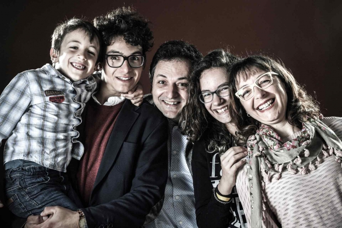 ritratto fotografico, famiglia con tre figli
